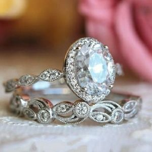 Jewelry - Vintage Art Deco Oval Diamond Halo Silver Ring Set